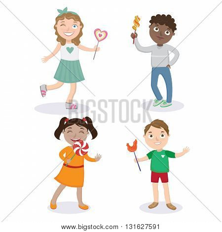 Happy Children with Lollipops - Girls and Boys. Vector illustration
