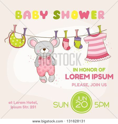 Baby Mouse Shower Card - with place for your text - in vector