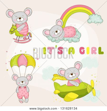 Baby Mouse Set - Baby Shower or Arrival Card - in vector