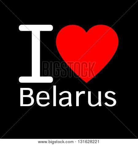 i love Belarus lettering illustration design with heart sign