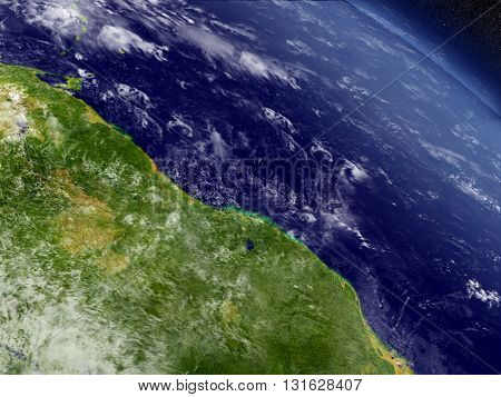 Guynea And Suriname  From Space