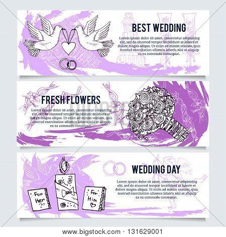 Wedding banners or website header set. Violet color