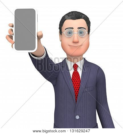 Online Character Indicates World Wide Web And Blank 3D Rendering