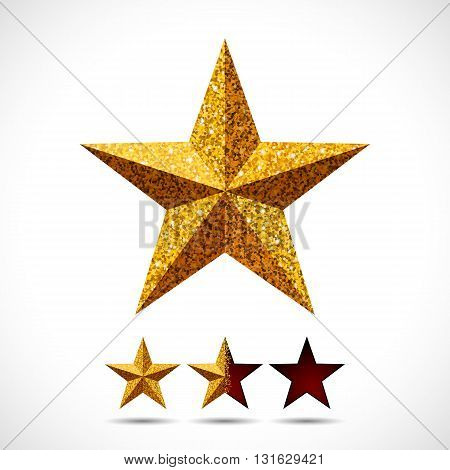 Star with shiny glitter texture and rating template