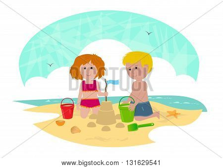 Clip art of a boy and a girl building a sandcastle. Eps10