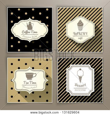 Set of vintage labels coffee bakery tea and dessert with long shadow