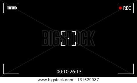 Classic Digital Video Camera Focusing Screen. Black Viewfinder Camera Recording. Vector Illustration