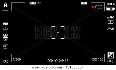 Modern Digital Video Camera Focusing Screen With Settings. Black Viewfinder Camera Recording. Vector