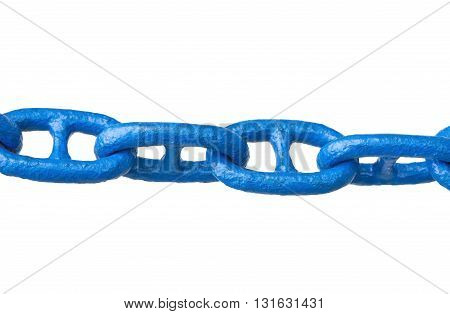 blue anchor chain on a white background