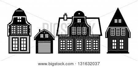 Old Holland houses on white background set, vector illustration