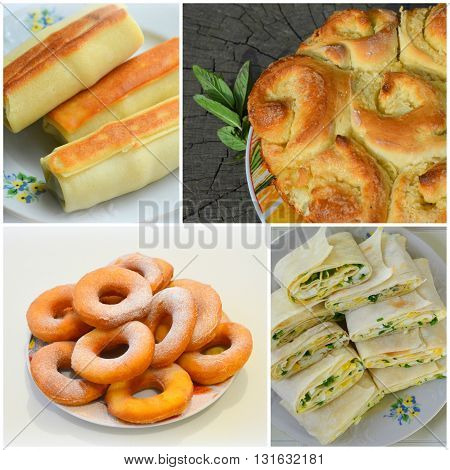 Collage of bread, homemade cakes calorie food
