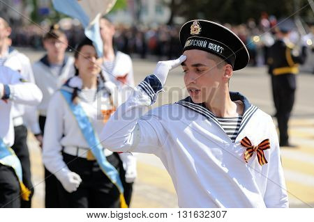 Orel Russia - May 9 2016: Celebration of 71th anniversary of the Victory Day (WWII). Navy military marching closeup