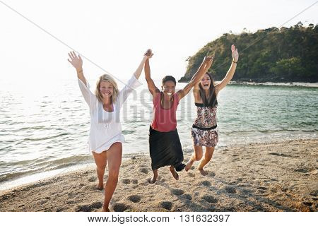 Girls Friendship Beach Summer Celebration Togetherness Concept