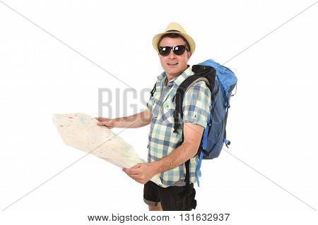 young tourist man reading city map looking relaxed and happy carrying backpack wearing summer hat and sunglasses in holiday travel adventure concept isolated white background
