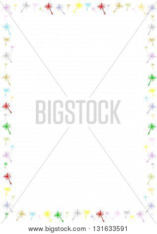 Colourful border with dandelion seeds - vector illustration.