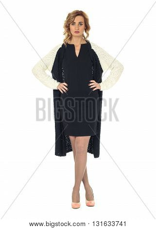 Full Length Portrait Of Women In Warm Clothing Isolated