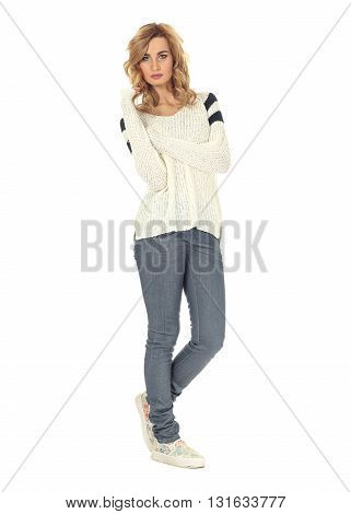 Full Length Portrait Of Women In Jeans Isolated