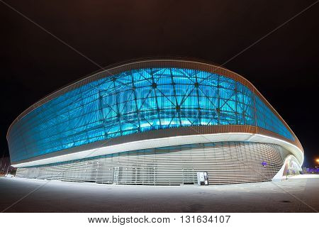 SOCHI RUSSIA - CIRCA MARCH 2015: Adler-Arena is one of Olympic objects of winter Olympic games 2014 year and situated in the Olympic park in Sochi. Now it is used as tennis academy