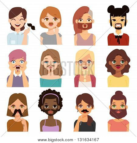 Bearded woman with glitter shape beard funny cartoon women. Just having fun bearded woman. Beautiful young short hair woman holding vector mustache woman on her face and smiling mustache woman.