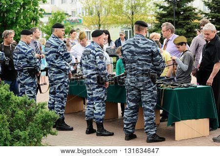 Orel Russia - May 9 2016: Celebration of 71th anniversary of the Victory Day (WWII). OMON soldiers showing guns horizontal