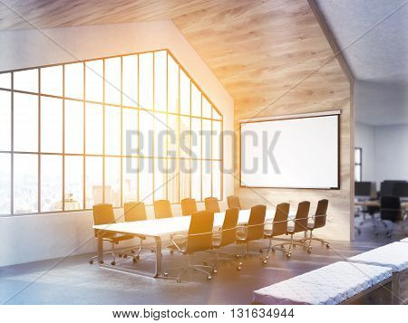 Side view of conference table in interior with blank whiteboard and window with sunlit New York city view. Toned image. Mock up 3D Rendering