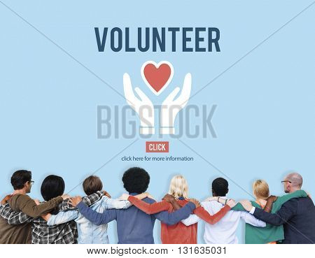 Volunteer Helping Hands Heart Icon Concept.