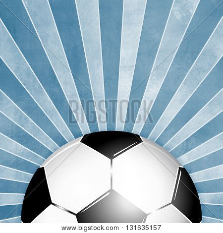Blue soccer ball background with rays