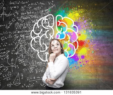 Right and left hemispheres creative and analytical thinking concept with thoughtful businesswoman on background divided into colorful and mathematical formula walls
