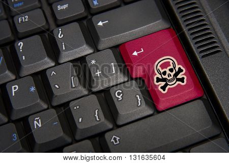 Detail of Black keyboard with red skull
