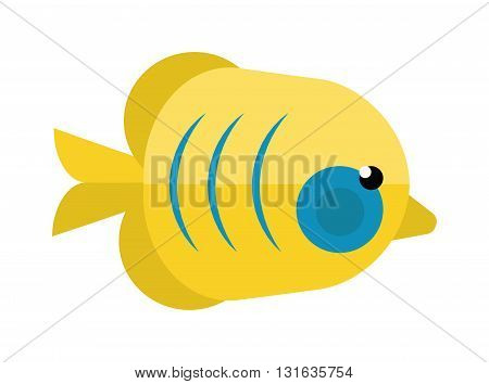 Tropical reefs fish collection on white background. Underwater reefs fish tropical ocean wildlife and coral marine colorful reefs fish. Sea aquatic color reefs yellow fish, travel beauty reefs fish.