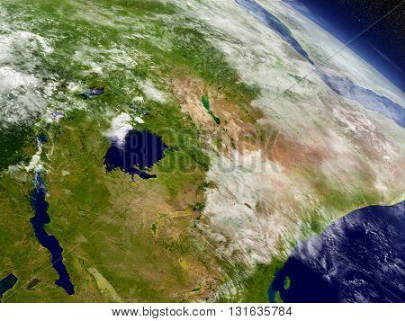 Kenya, Uganda, Rwanda And Burundi From Space