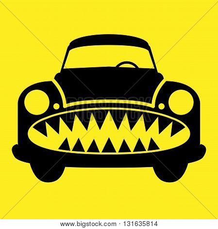 Angry car character on yellow background, vector illustration