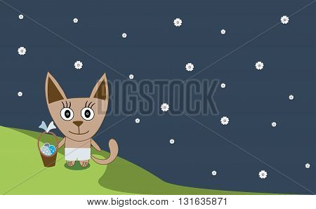 Illustration Of A Cat And The Easter Eggs - Vector