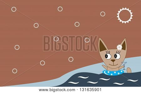 Vector Illustration: A Cute Cat Is Swimming In Summer Vacation In A Blue Swimming Ring