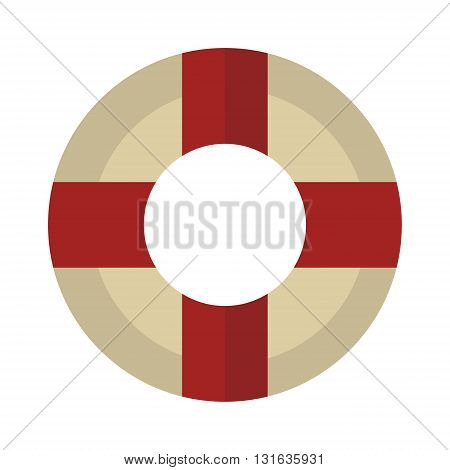 Lifebuoy vector icon symbol lifesaver swim. Isolated lifebuoy preserver icon object concept sign guard. Beach water ship float lifebuoy. Stripped lifebuoy emergency help survival equipment protection.