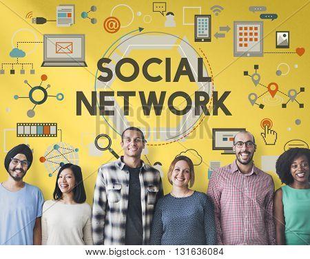 Social Network Connection Digital Communication Concept