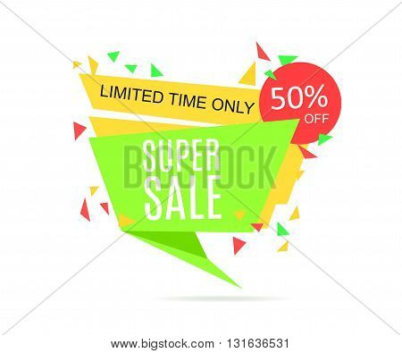 Super Sale banner. Vector Sale Tag illustration.