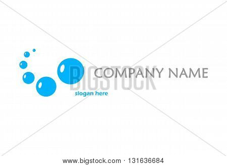 Blue logo with bubbles - vector illustration.