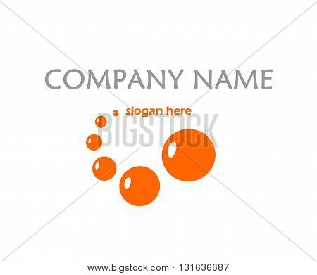 Orange logo with bubbles - vector illustration.