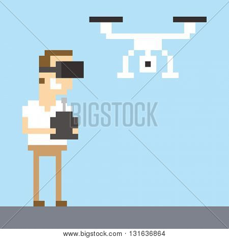 Pixel Art Image Of Man Wearing VR Headset Flying Drone