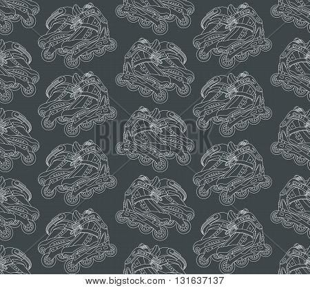 Seamless vector pattern with roller skates on a gray background. Can be used for graphic design textile design or web design.