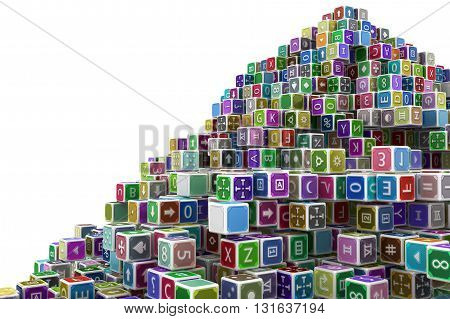 Toy cube blocks abstract isolated 3d illustration horizontal