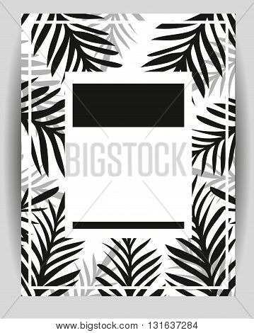 Summer party poster with palm leaf. Abstract Palm Branch. Greeting card Invitation Party Flyer. Typographycal Poster. Vector Illustration. Geometric Monohrome Abstract Style. Empty Space For Text.