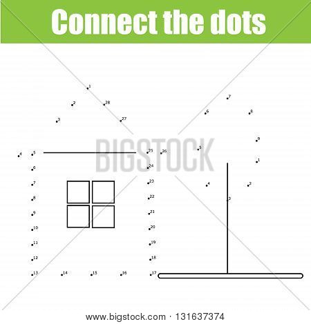 Connect the dots educational drawing children game. Dot to dot game for kids.