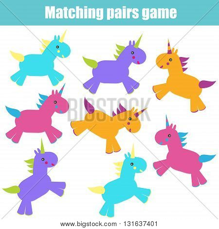 Matching pairs game for kids. Find the right pair for each unicorn