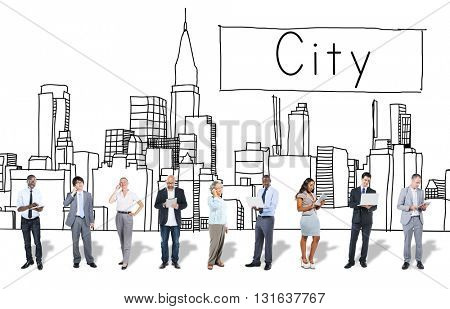 Business People Diversity City Corporate Concept