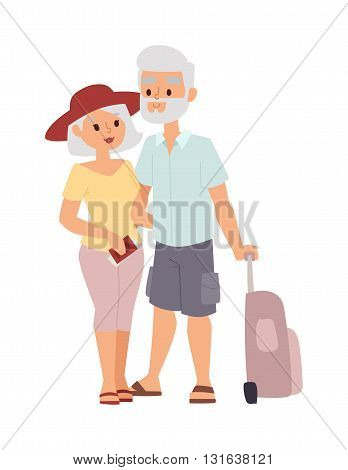 Summer old couple people vacation traveling. Vacation old people couple happy family travel together. Traveling pensioner couple family people on vacation together character vector illustration.