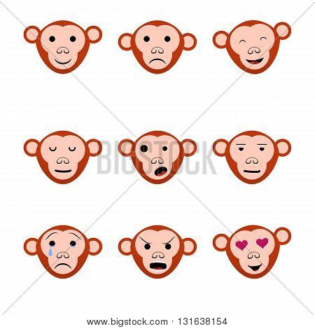 Emotions faces monkeys nine set icons. Vector illustration
