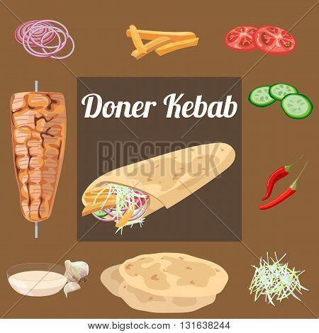 Doner kebab. Meat vegetables sauce pita . Vector illustration.