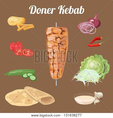 Doner kebab ingredients. Meat vegetables. Vector illustration.